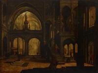 inneres der lateranskirche in rom (?) mit zahlreicher figurenstaffage und szenen aus dem leben eines papstes (after johannes londerseel) by hendrick aerts