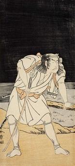ganzfigürliche darstellung eines schauspielers mit gezogenem schwert an einem see bei nacht (hosoe) by katsukawa shunsho