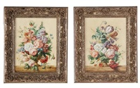 floral still lifes (pair of works) by jan frans van dael