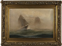 seascape with ships by theodore victor carl valenkamph