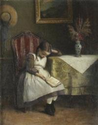 stubeninterieur mit einem lesenden jungen mädchen an einem tisch by emil strecker