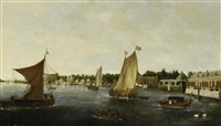 holländische flusslandschaft (haarlem?) by laurens vincentsz van der vinne the elder