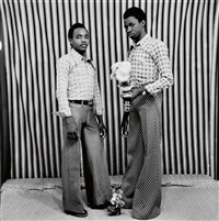group of 3 portraits of malian subjects by malick sidibé