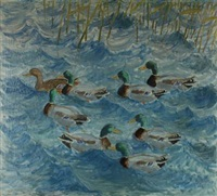 inlet with mallards in the rush by christen roesgaard