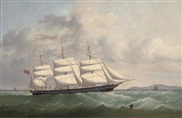 "the ""british peer"" outward bound off the south stack lighthouse (on her maiden voyage?) by joseph semple"