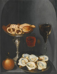 still life of oysters on a pewter plate, sweetmeats and biscuits in a silver tazza, two façon-de-venise wine glasses and an orange, in a stone niche by osias beert the elder