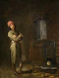 interieur mit einem herrn am ofen by pieter harmensz verelst