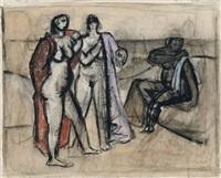 drei weibliche akte am strand (+ skizze eines mannes, verso) by hans jüchser