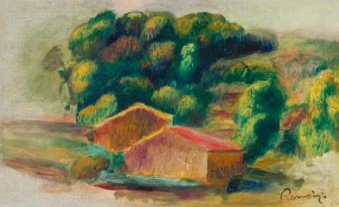paysage, maisons by pierre-auguste renoir