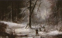 deer hunters in a snowy forest by ludwig holthausen