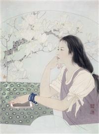 人物 镜片 设色绢本 by ren chengwu