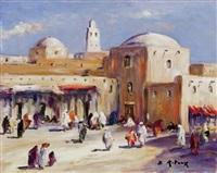 la place animée devant la mosquée by bruno retaux