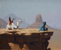 homme bleu méditant by hocine ziani