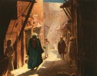 fez, mosquée de moulaye idriss, le mur des offrandes (+ rue animée, fez; 2 works) by joseph saint-germier