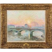 coucher de soleil sur la rivière by henri lebasque