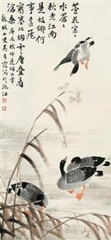 芦雁 立轴 设色纸本 by wu qingxia