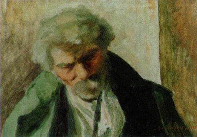 porträt eines alten grauhaarigen maanes mit schnurrbart by josé fabri canti