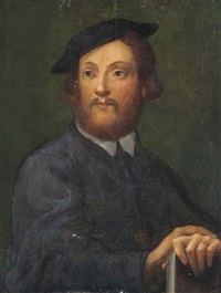 portrait of a gentleman, half-length, in a black coat, his hands resting on a book by parmigianino