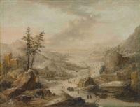 weite winterliche flusslandschaft by johann (jan) christian vollerdt