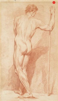 a pair of academic nude figure studies: a man with his back turned, leaning on a staff with his right hand; and a man with his right leg kneeling on a rock by continental school