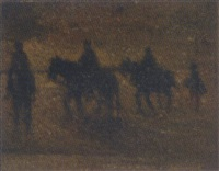 horse riders on the beach by henri van daalhoff