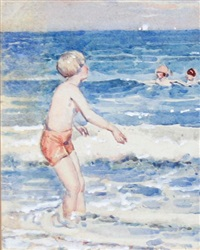 young boy paddling by the sea by garnet ruskin wolseley