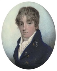 a young gentleman, in blue coat, white waistcoat and frilled cravat by barou (mrs.)