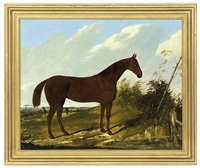 a chestnut hunter in a pastoral landscape by joseph (of worcester) dunn