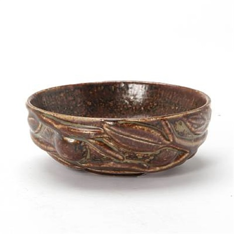 small bowl exterior modelled with fruits and leaves by axel johann salto