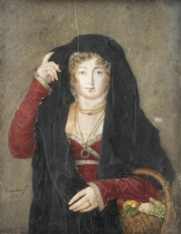 portrait of a lady, half length, holding a basket of fruit by louis marie autissier