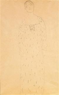 stehende dame von vorne, mit gemustertem kleid, wahrscheinlich studie zu dem gemälde bildnis friederike maria beer (novotny-dobai nr. 196) by gustav klimt