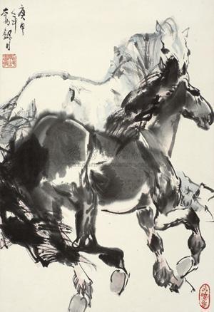 奔马图 horses by liu boshu