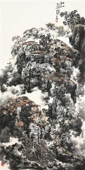 秋山高远 镜心 设色纸本 (painted in 2005 autumn mountain) by baiyun xiang