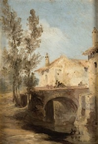 puente en el pueblo by genaro perez villaamil