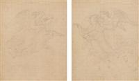 schwebende engel (2 works) by heinrich maria von hess