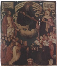 god the father, christ and the virgin mary with donors by hans holbein the elder