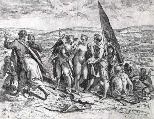 allegorie auf krieg und frieden etched by cornelis theodorus boissens by hans von aachen
