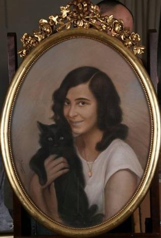 dziewczyna z kotem by boguslaw michal adamowicz