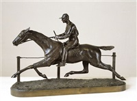 jockey à cheval le long d'une barrière by h.r. de vains