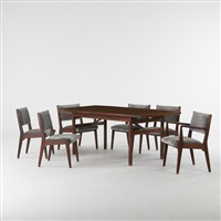 dining table and six chairs (7 works) by jens risom