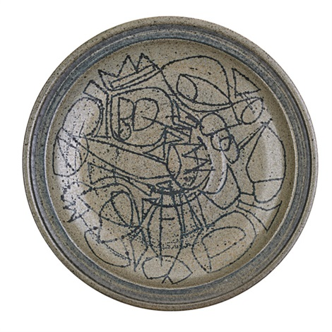 early plate with linear pattern by peter voulkos