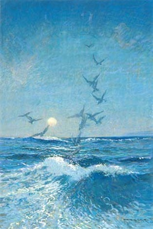 seagulls at dusk by william mitcheson timlin