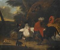 fowl in a landscape by melchior de hondecoeter