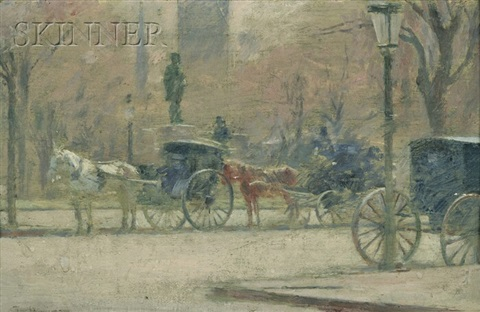 hansom cabs by theodore robinson