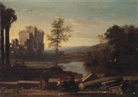 an italianate landscape with classical figures amongst ruins by pierre patel