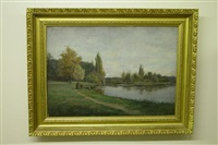 landscape with pond and children sailing pond boat by p(eter) a(lfred) gross