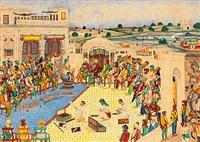 figurenreiche szene mit randschit singh (1780 gugaranvala bei lahore - 1839), oberhaupt der sikh; eroberte den kaschmir und rief sich zum maharadscha und großkönig aus, nachdem er unda. peschawar in afghanistan seinem reich einverleibt hatte by anonymous-indo-persian (19)