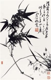 竹子 立轴 纸本 by jiang fengbai