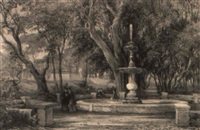 a fountain in the villa borghese, rome by charles earle