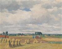 paysage estival avec tas de foin by karel van lerberghe